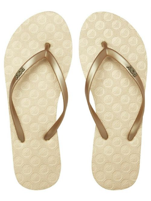 ROXY WOMENS FLIP FLOPS.VIVA METALLIC GOLD RUBBER SURF BEACH THONGS SANDALS S20 3